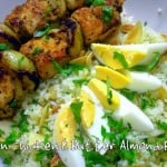 Cajun Chicken Skewers with Butter Almond Rice