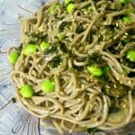 Soba Noodles with Roasted Sesame Dressing, Mushrooms and Edamame