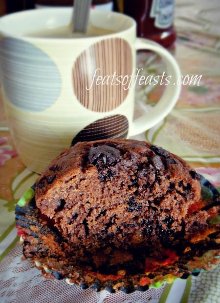 choc chunk muffins with reese&#039;s