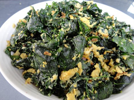 stir fried manicai with eggs, hody loh of cook for you and me